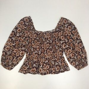 American Eagle Outfitters Floral Smocked Top M